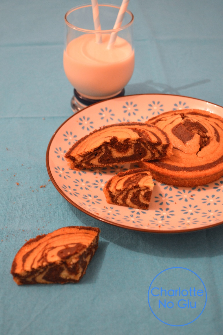 Gâteau zébré sans sucre, sans gluten, sans lactose